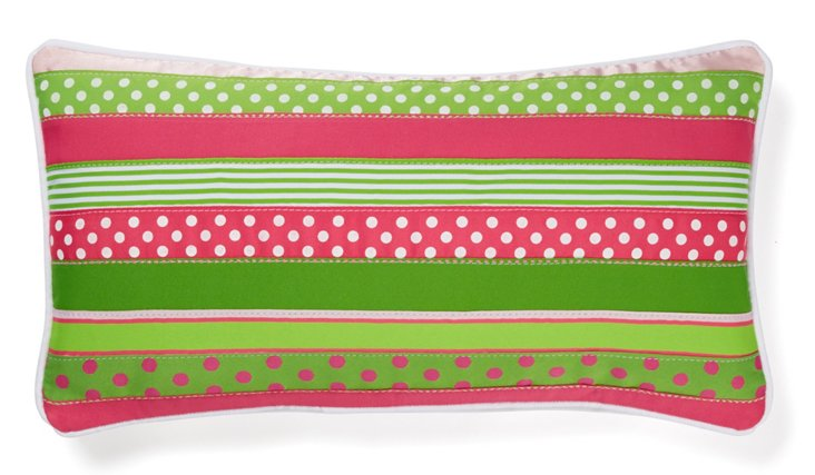 Ribbon 10x20 Cotton Pillow, Pink/Green