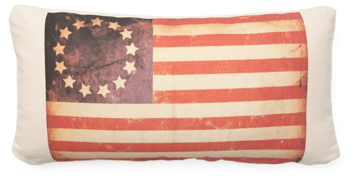 Flag 10x20 Cotton Pillow, Red