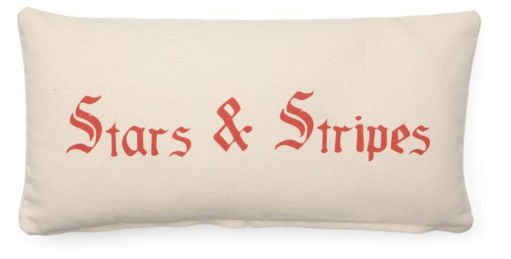 Stars & Stripes 10x20 Cotton Pillow, Red