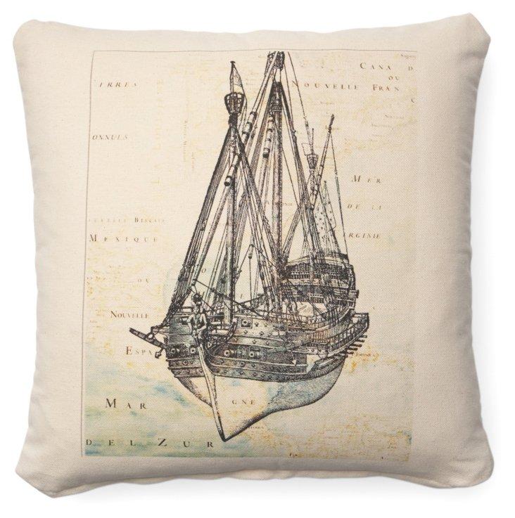 Boat Map 20x20 Cotton Pillow, Black