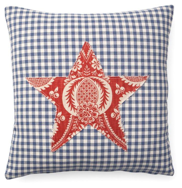 Checks Star 20x20 Cotton Pillow, Blue