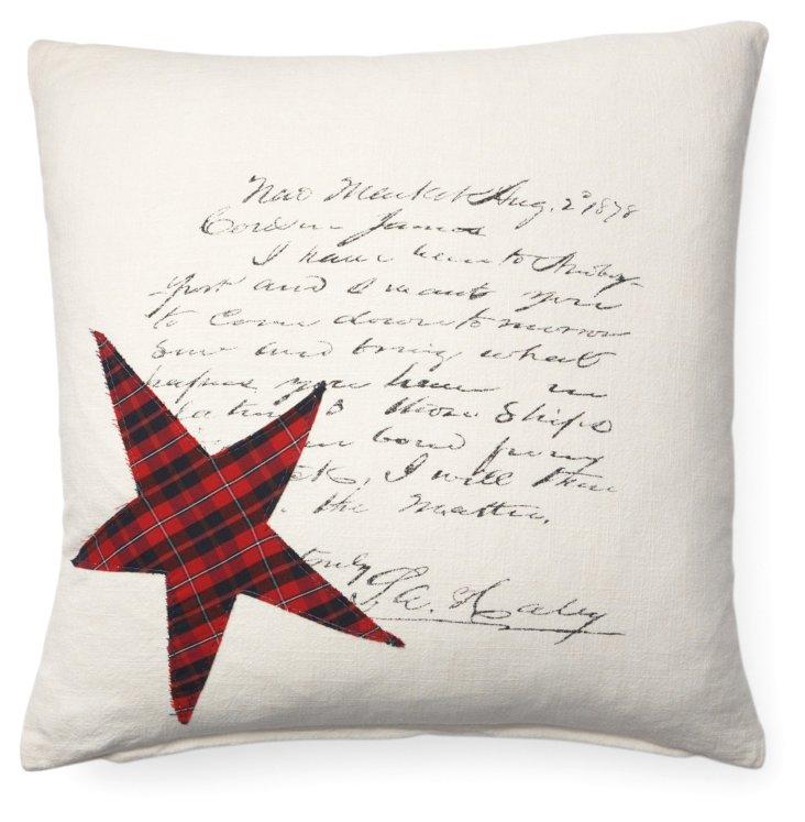 Script Star 20x20 Cotton Pillow, Red