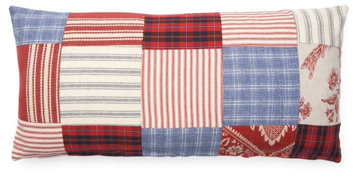 Patchwork 12x24 Cotton Pillow, Red