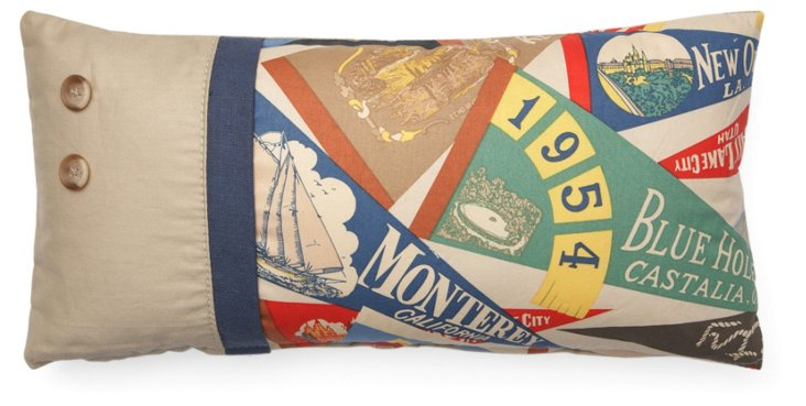 Pennant Flag 10x20 Cotton Pillow, Multi