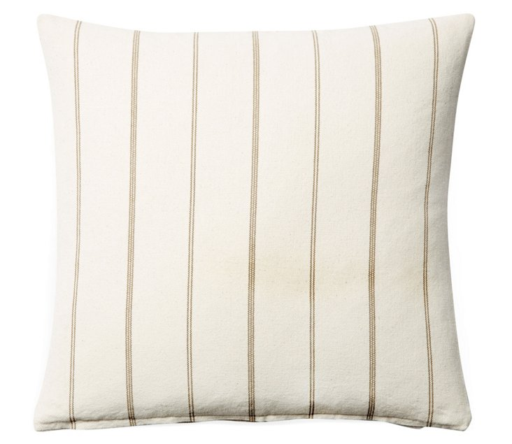 Striped 20x20 Cotton Pillow, Cream