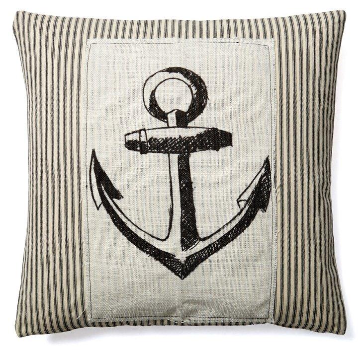 Anchor 20x20 Cotton Pillow, Black