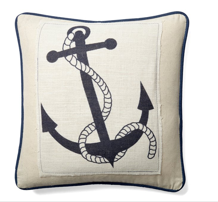 Anchor Rope 20x20 Cotton Pillow, Ivory