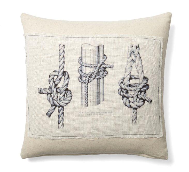 Triple Knot 20x20 Cotton Pillow, Natural
