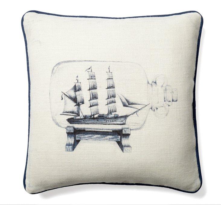 Ship Bottle 20x20 Cotton Pillow, Navy