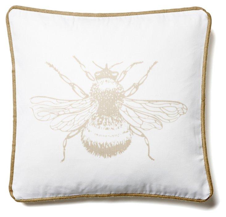 Bee 20x20 Linen Pillow, White