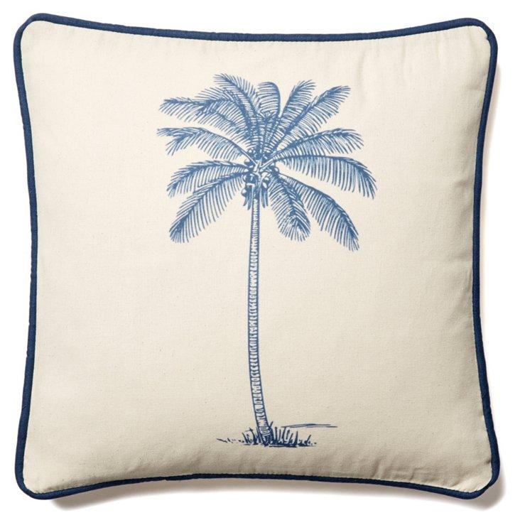 Palm Tree 20x20 Linen Pillow, Blue