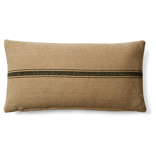 Stripe 10x20 Cotton Pillow, Natural