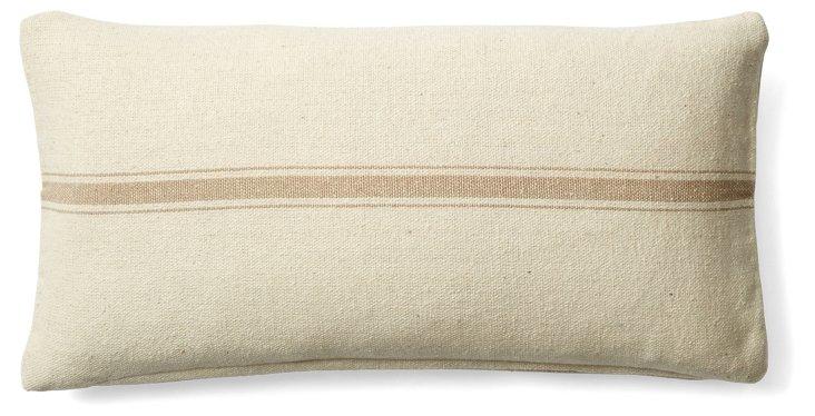Stripe 10x20 Cotton Pillow, Cream