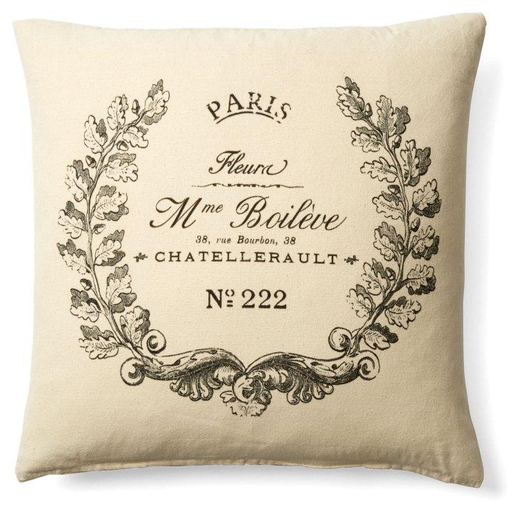 Crest 20x20 Cotton Pillow, Black