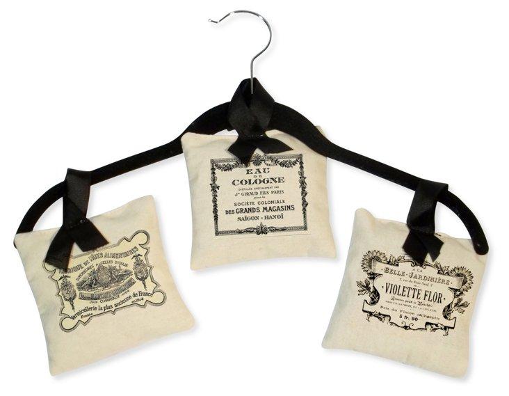 S/3 Hanging Sachets w/ Vintage Labels
