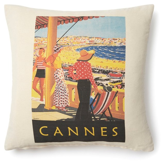 Cannes Poster 20x20 Pillow, Natural