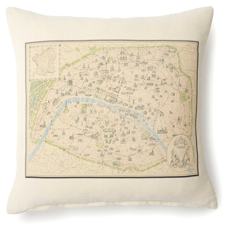 Paris Map 20x20 Cotton Pillow, Natural