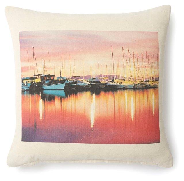 Sunset Boats 20x20 Pillow, Natural