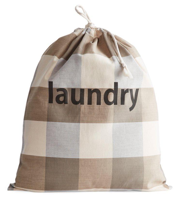 """""""Laundry"""" Drawstring Bag, Gray Check"""