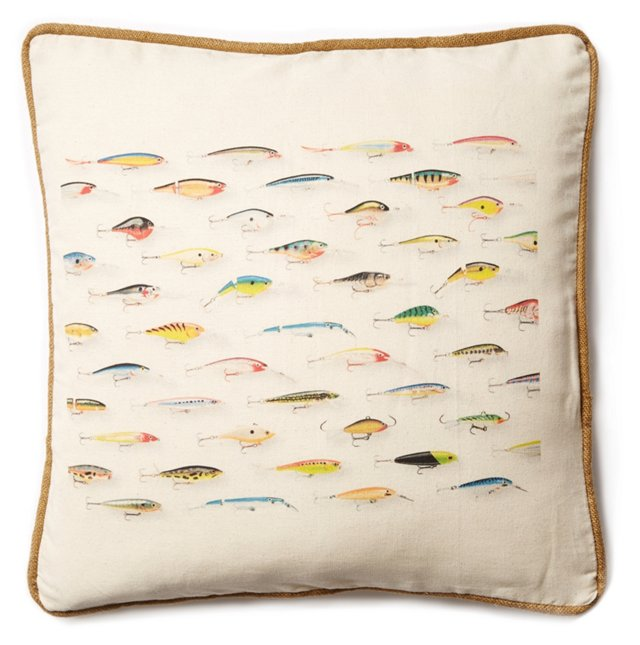 Fish 20x20 Cotton-Blended Pillow, Multi