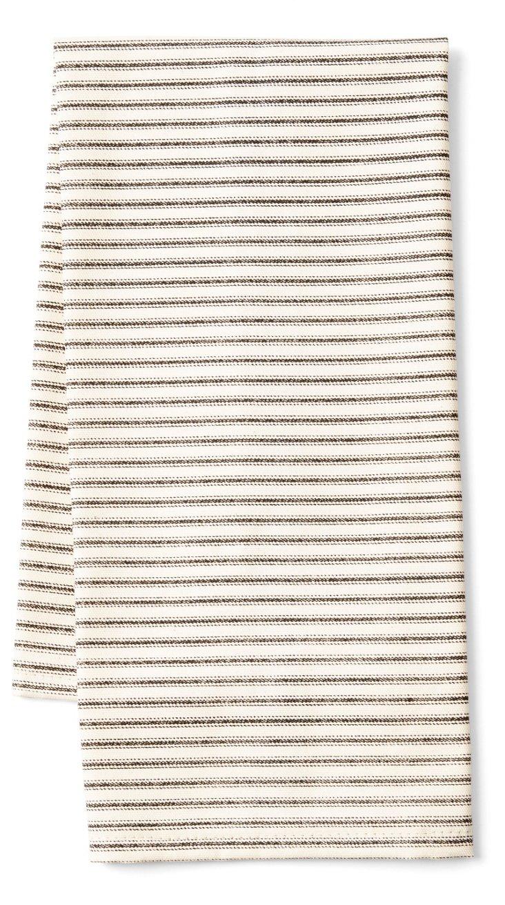S/2 Striped Tea Towels, Black