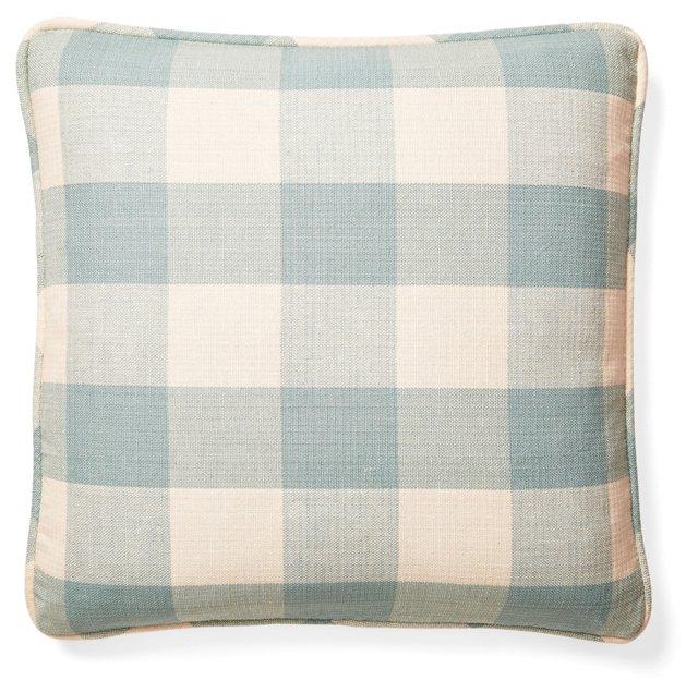 Buffalo Check 20x20 Cotton Pillow, Blue