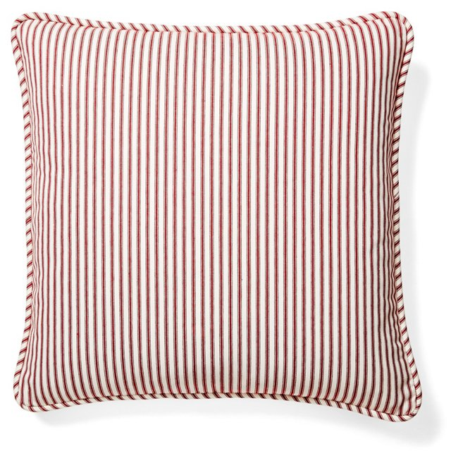 Ticking 20x20 Cotton Pillow, Red