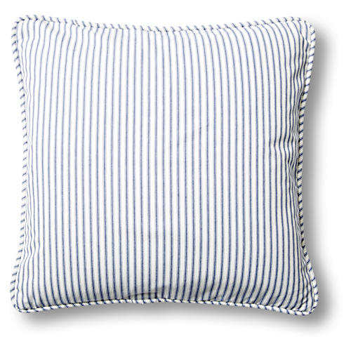 Ticking 20x20 Cotton Pillow, Blue
