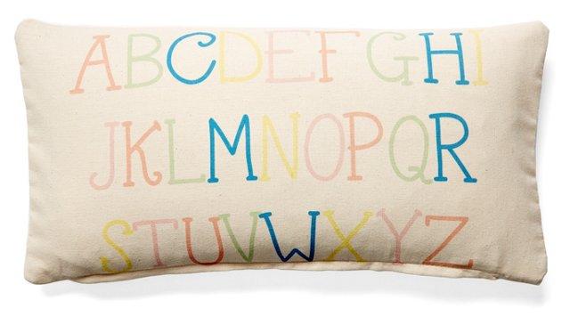 Alphabet 10x20 Cotton Pillow, Natural