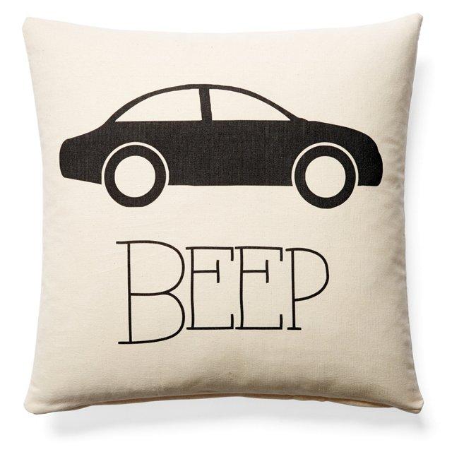 Beep Car 20x20 Cotton Pillow, Natural
