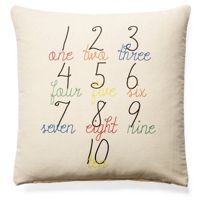Numbers 20x20 Cotton Pillow, Natural