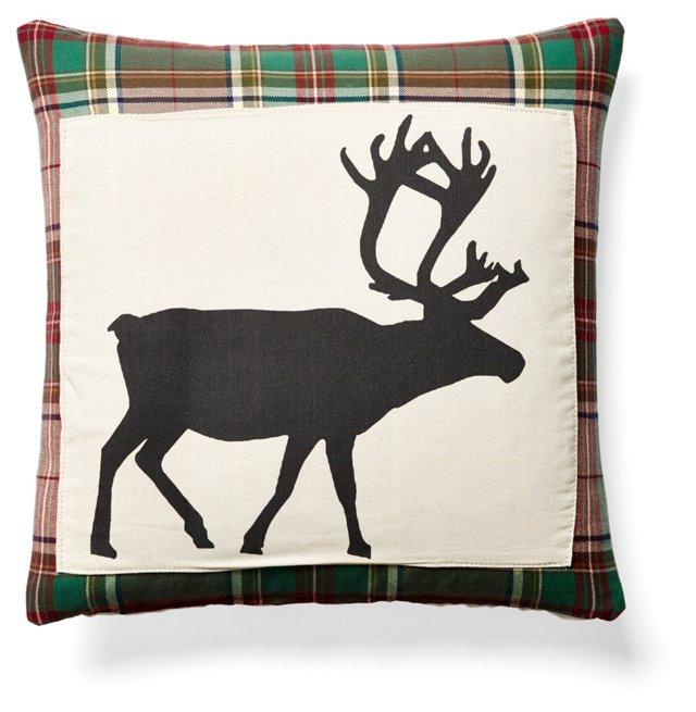 Reindeer 20x20 Pillow, Red Plaid