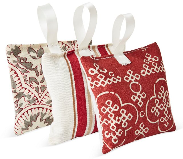 S/3 Hanging Lavender Sachets, Red/Gray