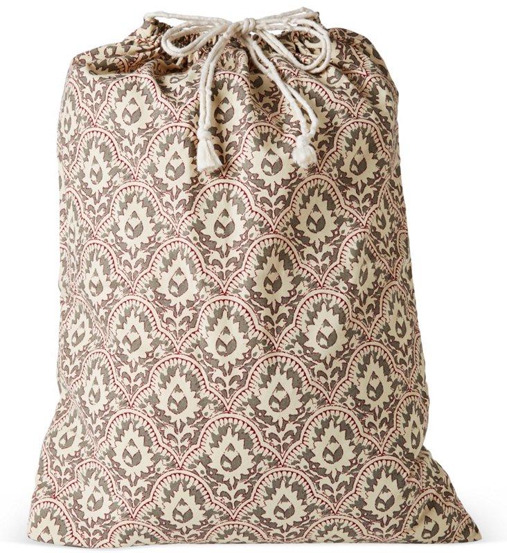 Drawstring Laundry Bag, Red/Gray