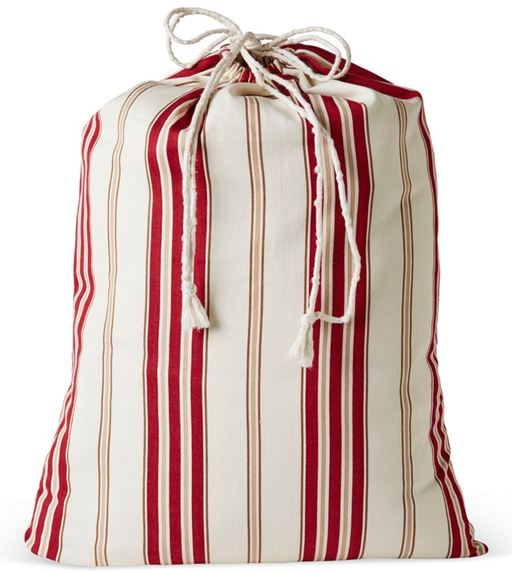 Drawstring Laundry Bag, Red Stripe