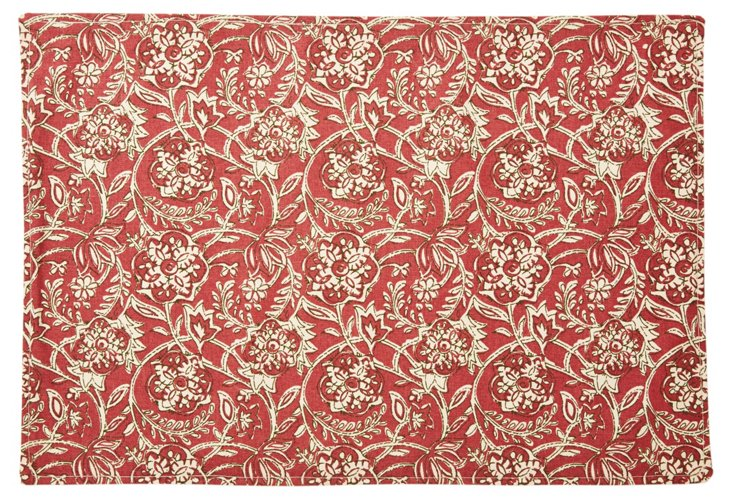 S/4 Floral Place Mats, Red