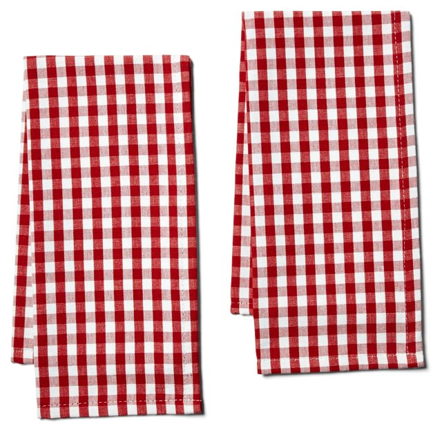 S/2 Gingham Tea Towels, Red
