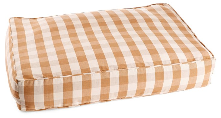 Large Buffalo Check Pet Bed, Tan/White