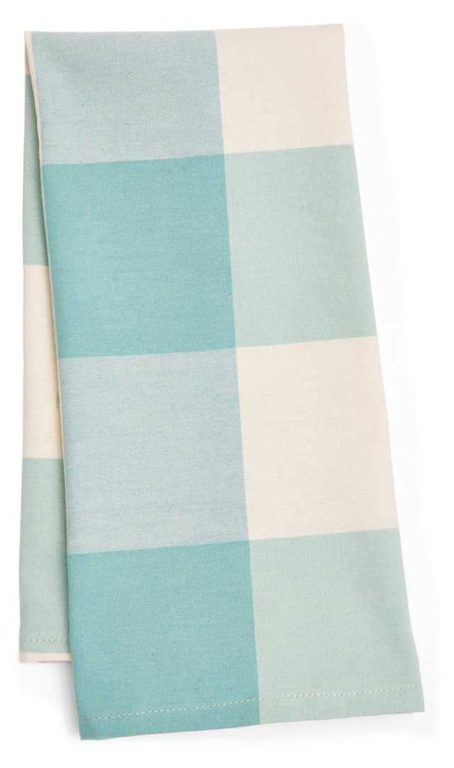 S/2 Buffalo Check Tea Towels, Spa Blue