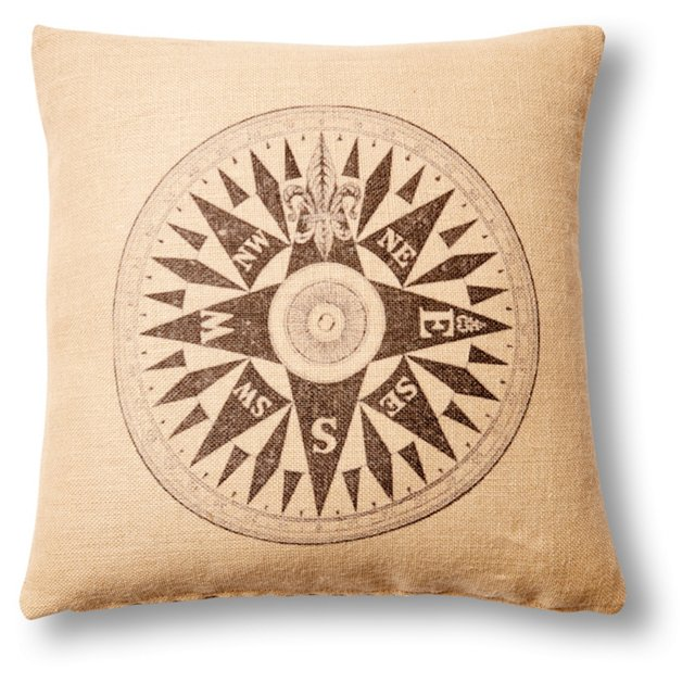 Compass 20x20 Cotton Pillow, Natural