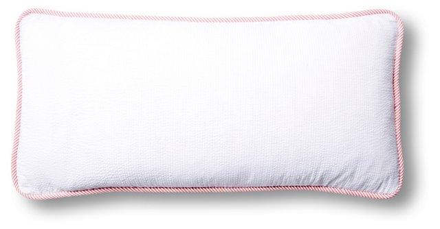 Seersucker 12x24 Cotton Pillow, White