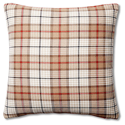 Plaid 20x20 Cotton Pillow, Tan