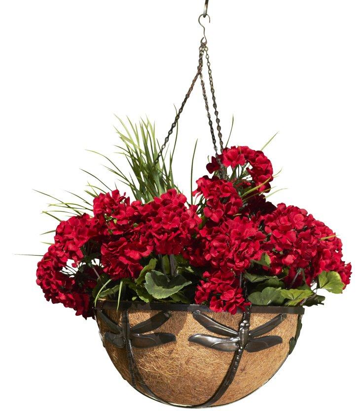 "14"" Dragonfly Basket Planter, Bronze"