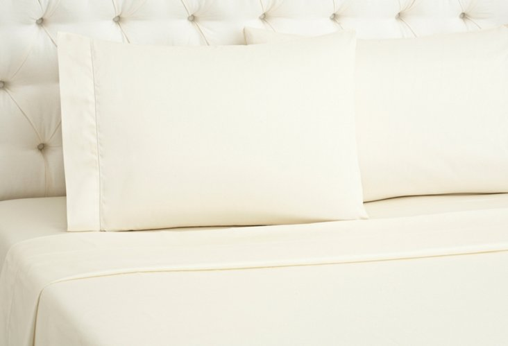 Single Ajour Sateen Sheet Set, Ivory