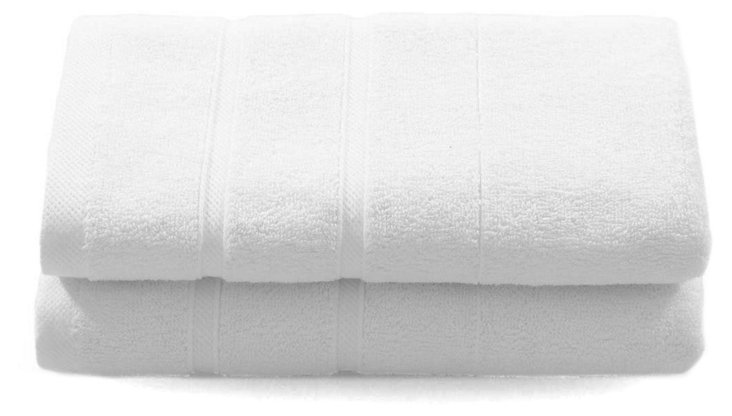 S/2 Lanes Hand Towels, White