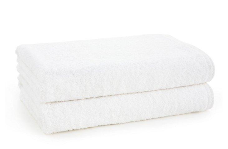 S/2 Nico Bath Towels, White