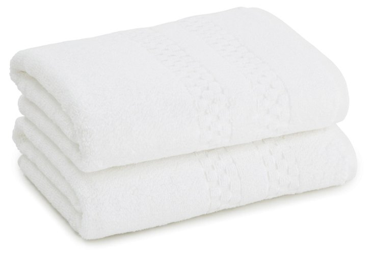 S/2 Checkerboard Hand Towels, White
