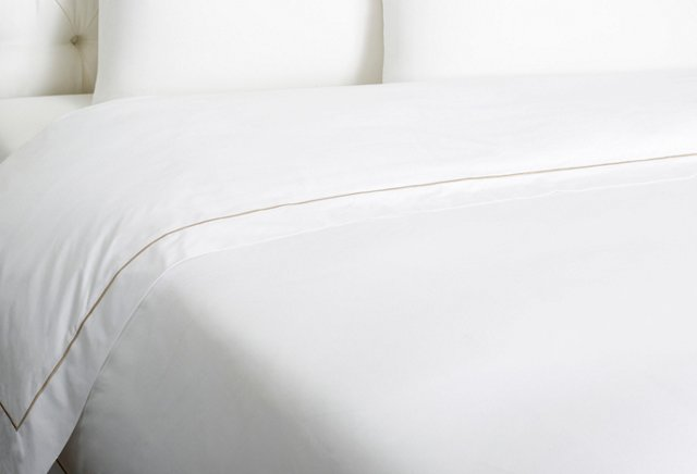 Bourdon Duvet Cover, White/Sand