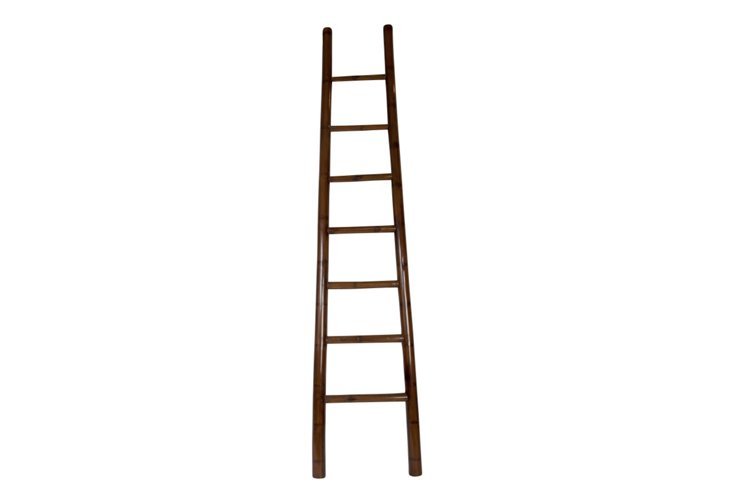 """93"""" Lacquered Bamboo Ladder, Chocolate"""