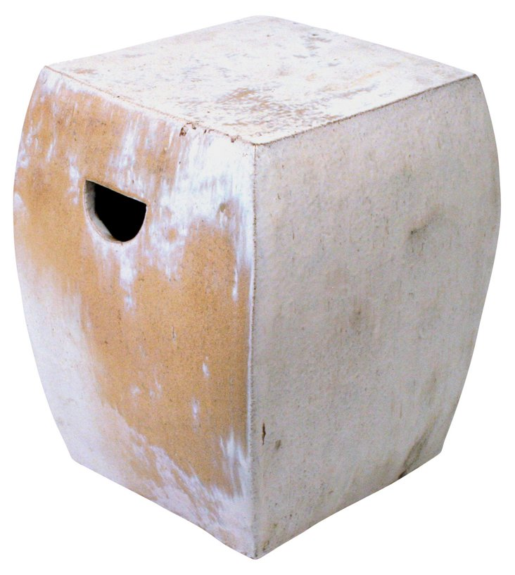 Square Garden Stool, White/Sand
